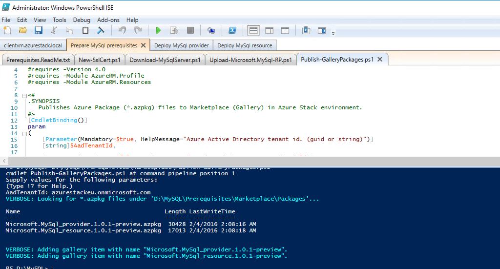 Enable PaaS (MySQL) in Azure Stack TP1   Azure Stack