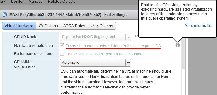 VMware hardware virtualization settings in vSphere for Azure Stack TP2 VM