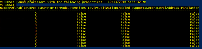 NumberOfEnabledCores zero and no virtualization enabled on detected cores by Azure Stack deployment script.