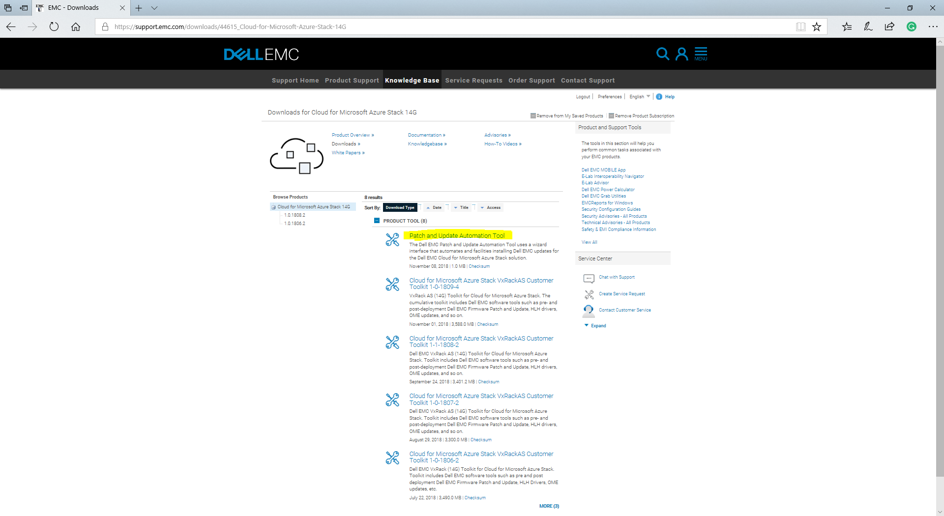 Patch and Update Automation Tool for Dell EMC VxRack Azure Stack 14G